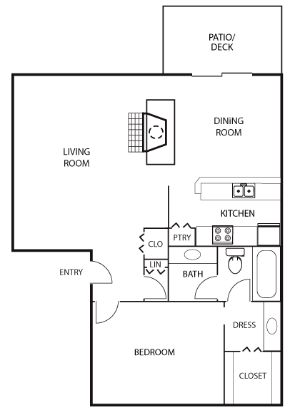 888 sq. ft. A2 floor plan