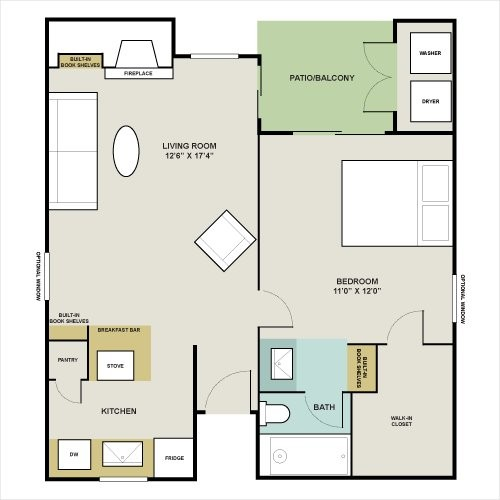 593 sq. ft. E floor plan