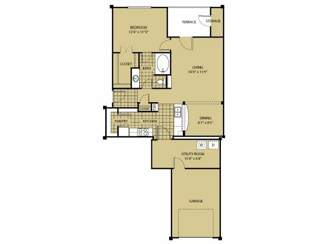 872 sq. ft. A7 floor plan