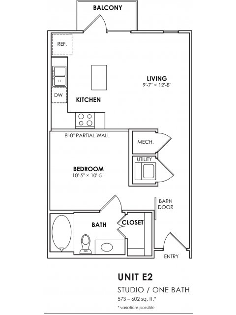 573 sq. ft. E2 floor plan
