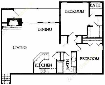 1,091 sq. ft. floor plan