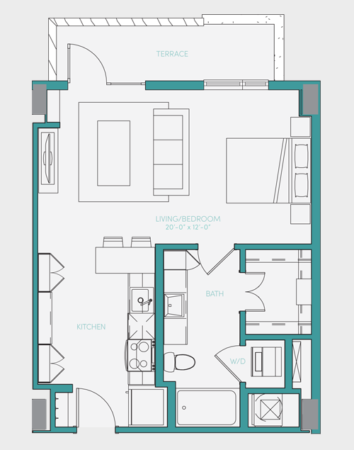 589 sq. ft. S1.7 floor plan