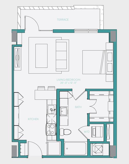 589 sq. ft. S1.7 floor plan