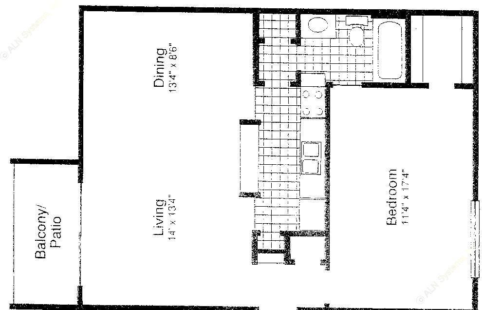 742 sq. ft. A-3 floor plan