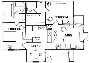 975 sq. ft. Palisade floor plan