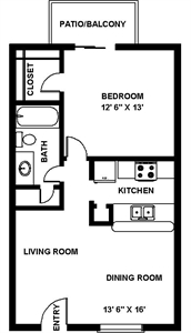 664 sq. ft. A Iron floor plan