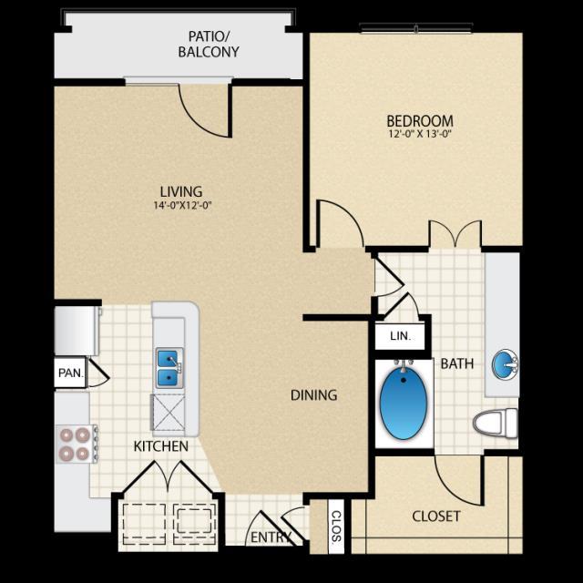 760 sq. ft. A3 floor plan