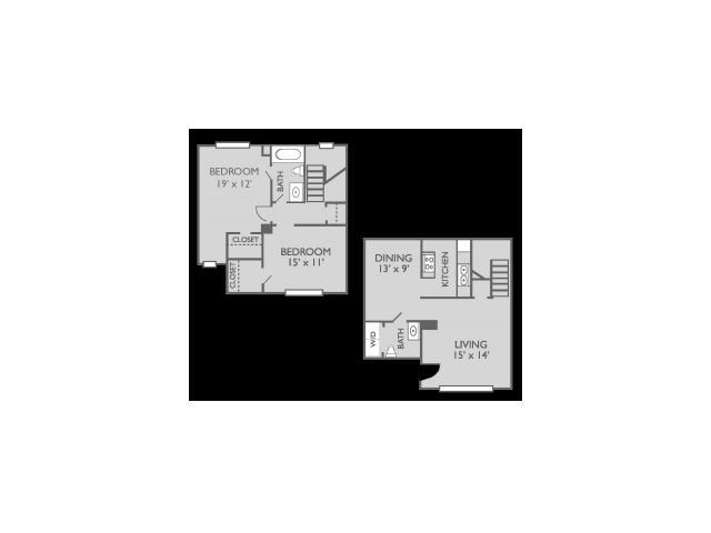 1,196 sq. ft. Willow floor plan