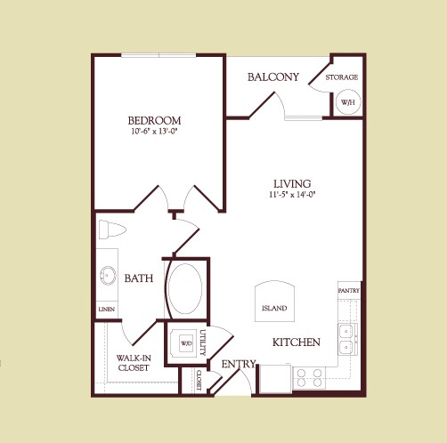 609 sq. ft. CEZANNE floor plan