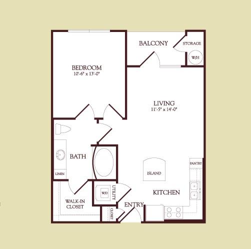 609 sq. ft. Cezanne floor plan
