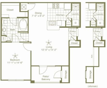 789 sq. ft. Lansing Alt floor plan