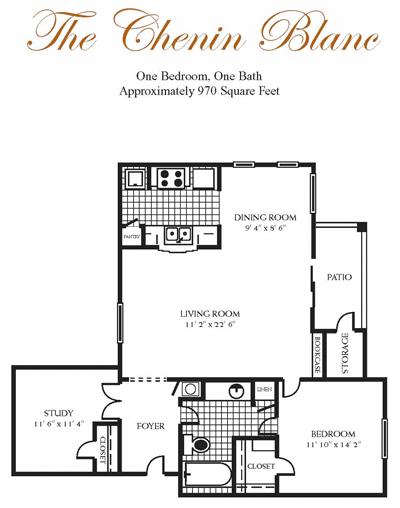970 sq. ft. CHENIN BL floor plan