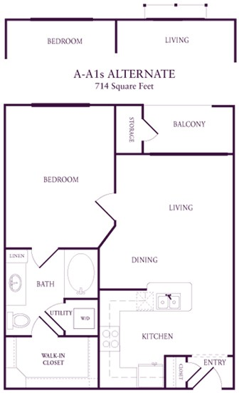 652 sq. ft. A-A1 floor plan