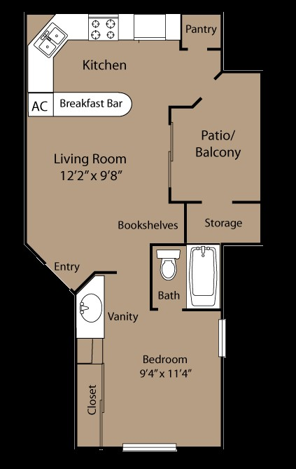 476 sq. ft. JR floor plan