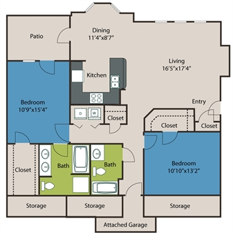 1,236 sq. ft. B1 floor plan