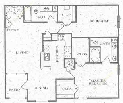 1,095 sq. ft. C floor plan