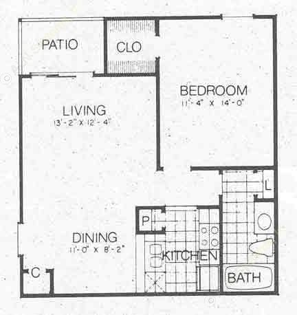 636 sq. ft. to 696 sq. ft. A2 floor plan