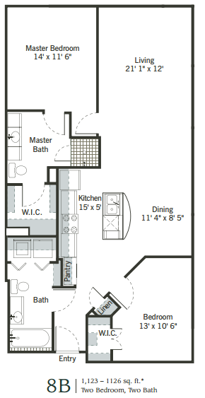 1,090 sq. ft. to 1,093 sq. ft. 8B floor plan