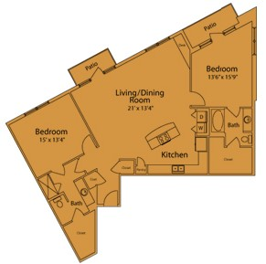 1,521 sq. ft. H floor plan
