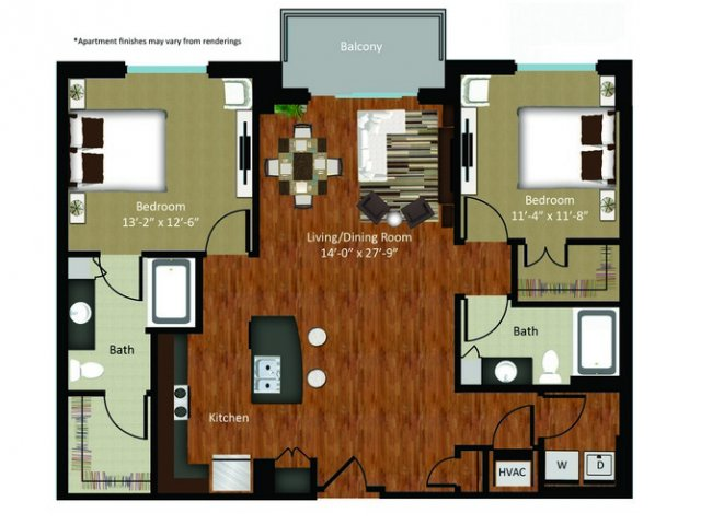 1,231 sq. ft. B1 floor plan