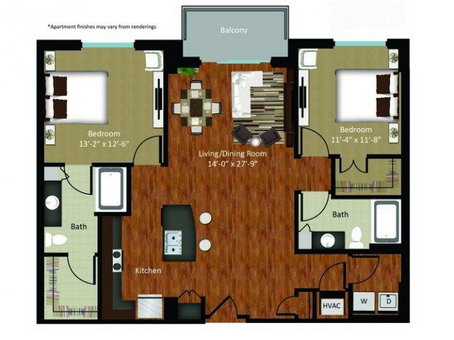1,231 sq. ft. B1 floor plan