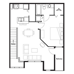 760 sq. ft. Designer Overlook (2nd) floor plan