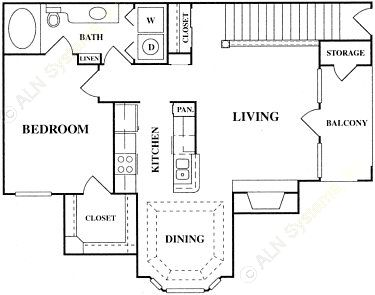 825 sq. ft. A2-S floor plan