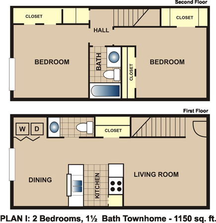 1,150 sq. ft. I floor plan