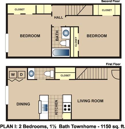 1,150 sq. ft. I floor plan