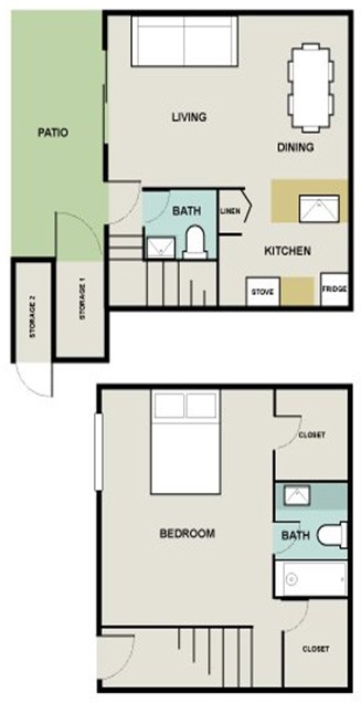 930 sq. ft. Bermuda floor plan