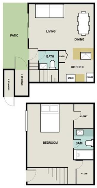 930 sq. ft. Bermuda floor plan