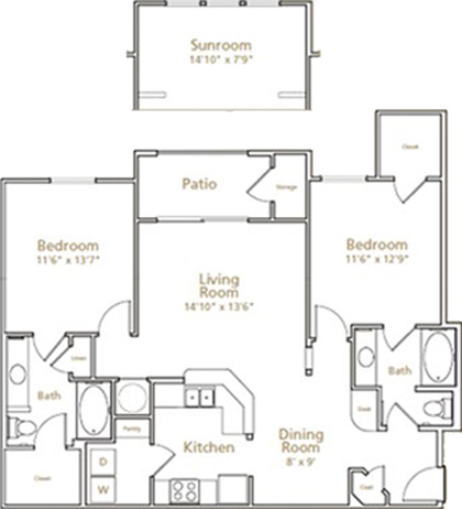 1,131 sq. ft. to 1,254 sq. ft. B2 floor plan