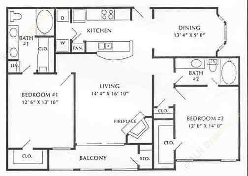 1,052 sq. ft. B3 floor plan