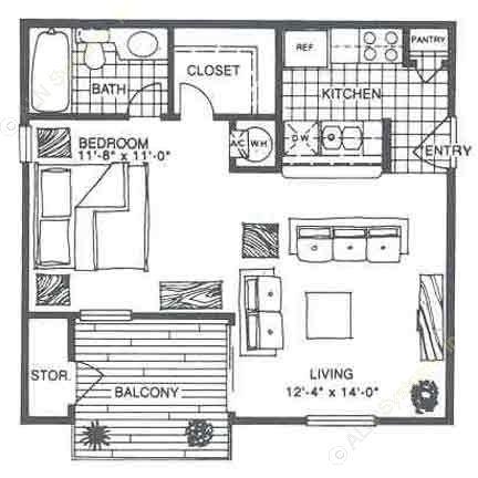 503 sq. ft. E1 floor plan