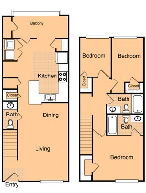 1,170 sq. ft. C1/60% floor plan