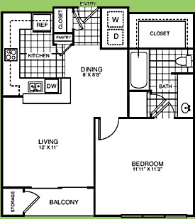 609 sq. ft. to 610 sq. ft. A1 C/D floor plan