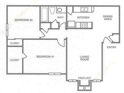 830 sq. ft. B-1 floor plan