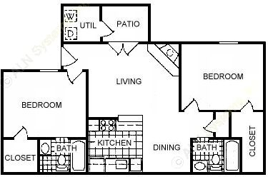 859 sq. ft. C floor plan