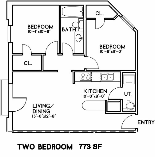 773 sq. ft. Waterloo floor plan