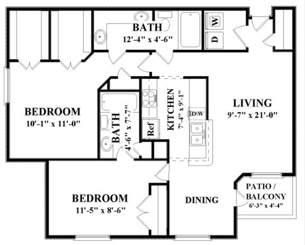 1,211 sq. ft. F floor plan