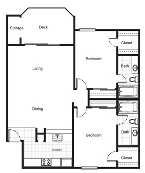 1,135 sq. ft. floor plan
