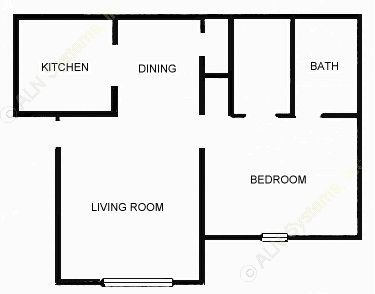 618 sq. ft. 1-A floor plan