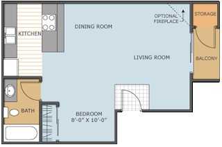 500 sq. ft. BUTTERCUP floor plan
