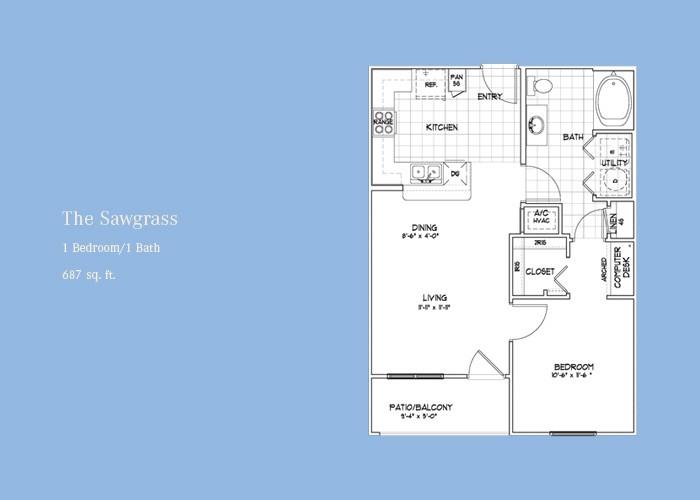 687 sq. ft. Sawgrass floor plan