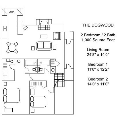 1,000 sq. ft. DOGWOOD floor plan