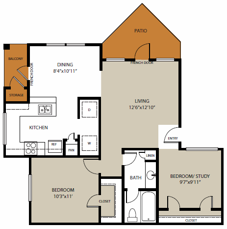 807 sq. ft. White Rock floor plan