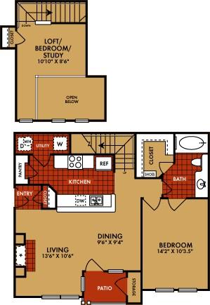 941 sq. ft. Alamosa (B1) floor plan