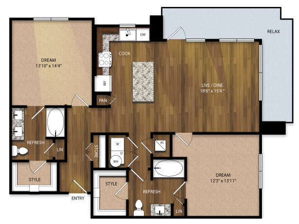 1,242 sq. ft. B3 floor plan