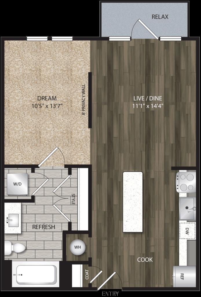 616 sq. ft. E2 floor plan