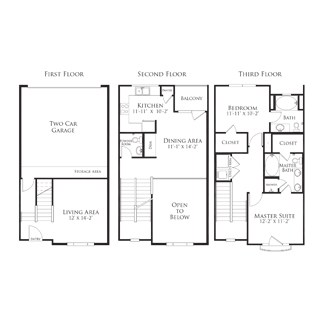 1,386 sq. ft. 2THB4.3GG floor plan